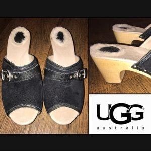 Ugg Katerine Suede Clog Heel Wooden Buckle Stud 9